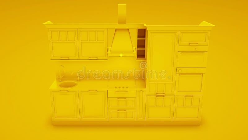 Gelbe moderne Küche Abbildung 3D vektor abbildung