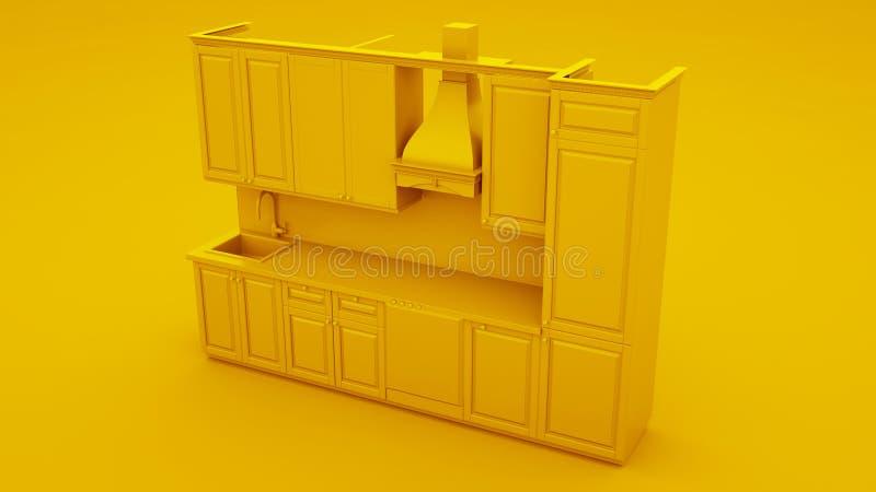 Gelbe moderne Küche Abbildung 3D lizenzfreie abbildung