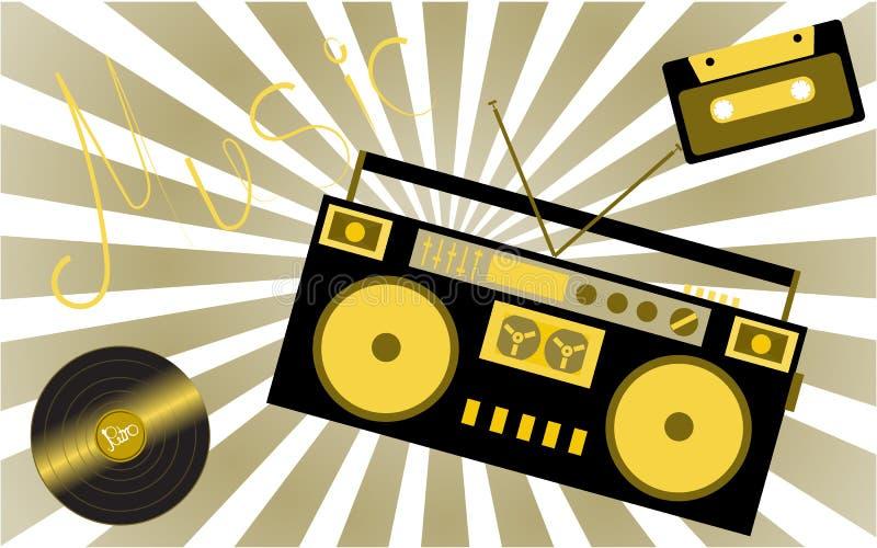 Gelbe musikalische analoge Retro- alte Hippie-Weinlesegrammophon-Vinylaufzeichnung, Audiokassette, musikalisches Tonbandgerät von lizenzfreie abbildung