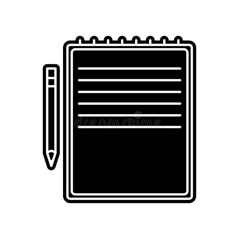 gelbe Notizbuch- und Stiftikone Element der Bildung f?r bewegliches Konzept und Netz apps Ikone Glyph, flache Ikone f?r Websiteen stock abbildung