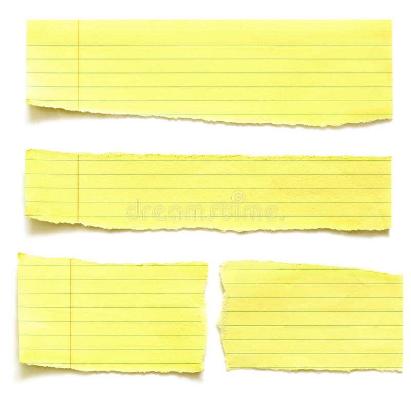 Gelbe Papier-Risse lizenzfreies stockfoto