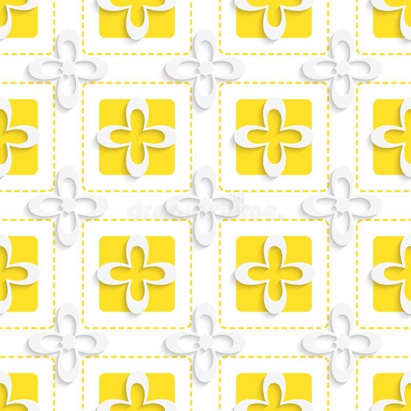 Gelbe Quadrate und Muster der weißen Blumen vektor abbildung