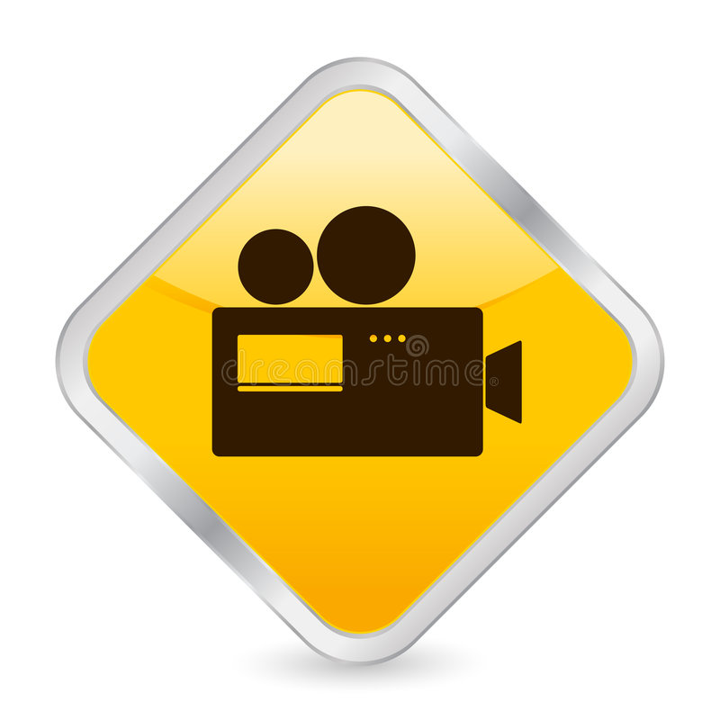 Gelbe quadratische Ikone der Kamera stock abbildung