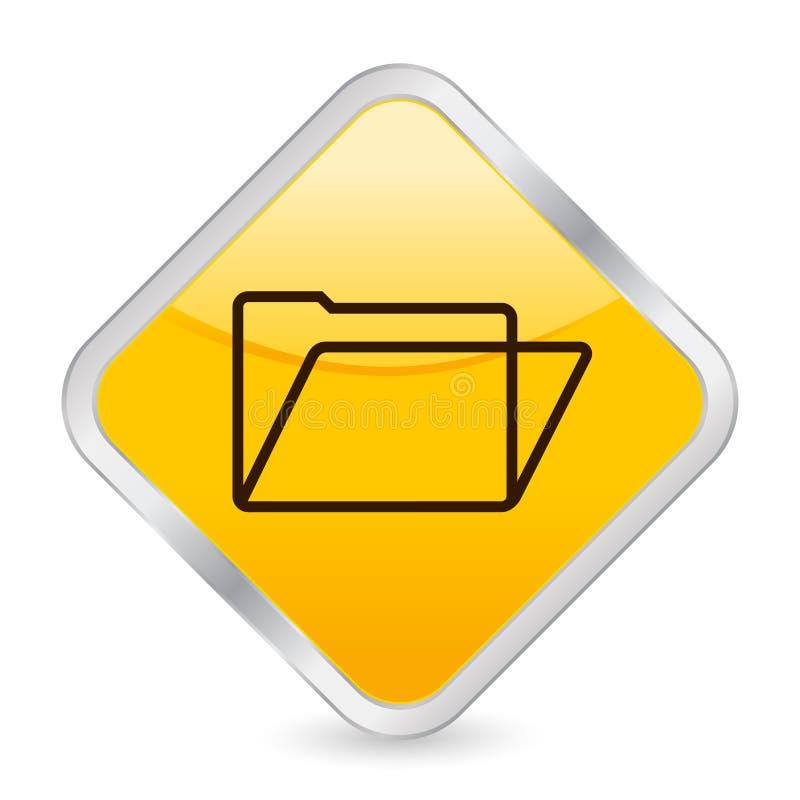 Gelbe quadratische Ikone des Faltblatts lizenzfreie abbildung