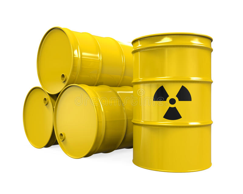 Gelbe radioaktive Fässer stock abbildung