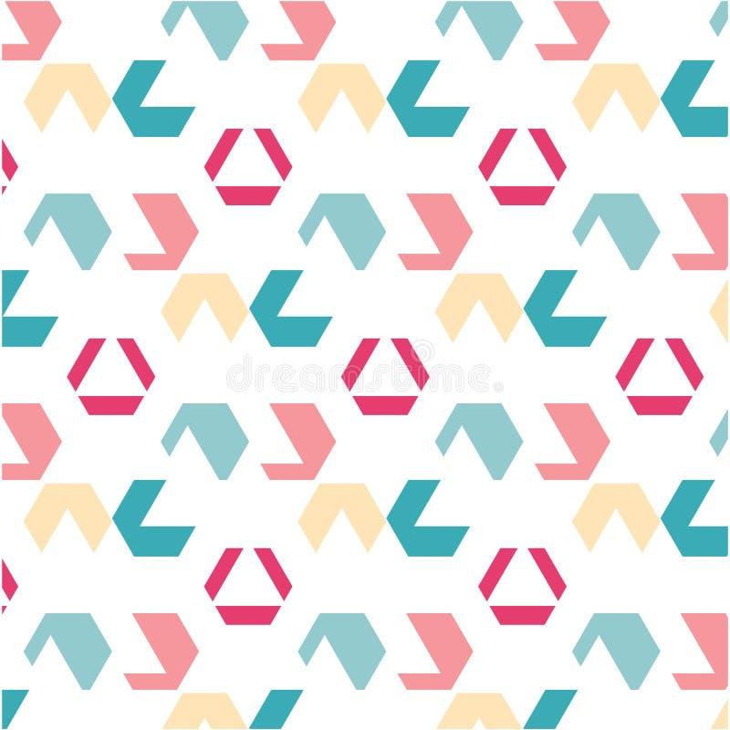 Gelbe rosa grüne Zahl des hellen Musters des Sommerdruckes stock abbildung