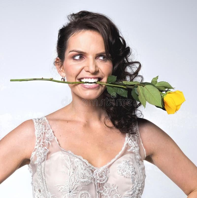 Gelbe Rose Woman stockfotografie