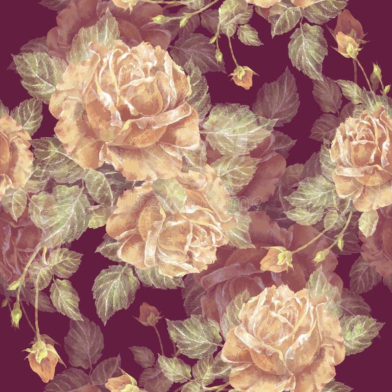 Gelbe Rosen färbten Bleistift auf Burgunder-Hintergrund Empfindliches nahtloses Muster für Entwurf stock abbildung