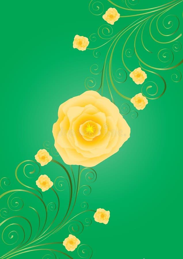 Gelbe Rosen mit Rotationen auf grünem Hintergrund vektor abbildung