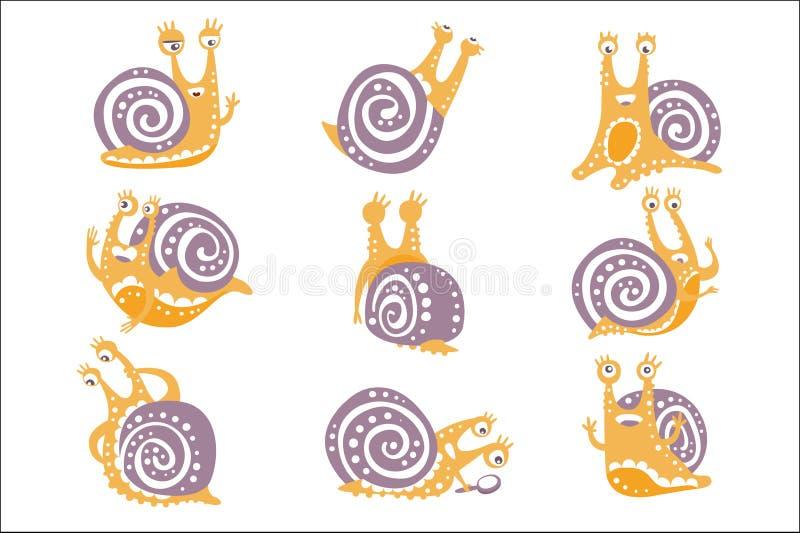 Gelbe Schnecke mit purpurroter stilisierter Vektor-flachen Illustrationen Shell Different Poses Set Ofs in der k?nstlerischen Art stock abbildung