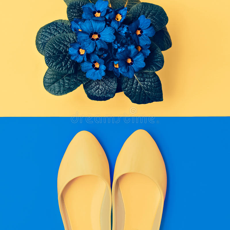 Gelbe Schuhe und blaue Blumen stockfotos