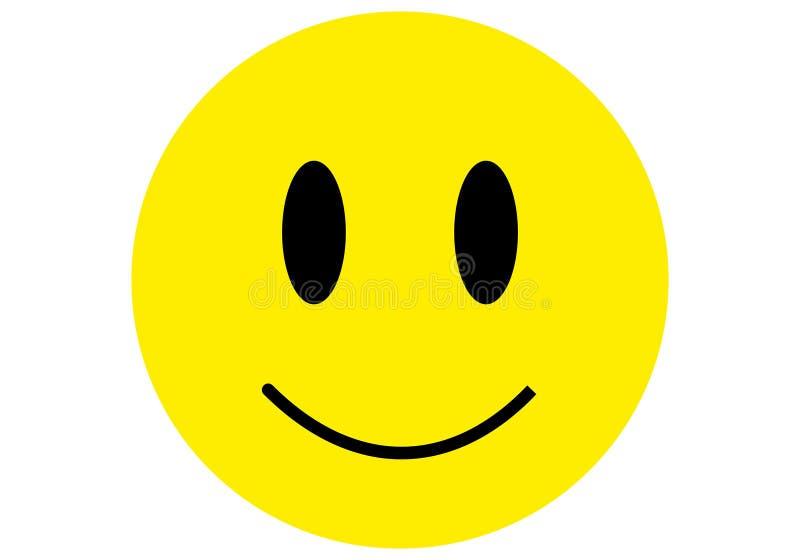 Gelbe schwarze Farbe des flachen Entwurfs der smiley Emoticonikone lizenzfreie abbildung