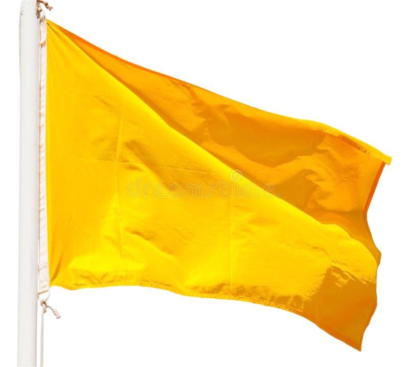 Gelbe Signalflagge lokalisiert über Weiß stockfotografie
