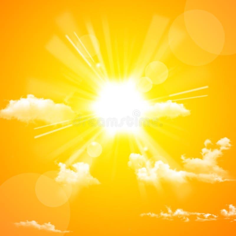 Gelbe Sonne und Wolke lizenzfreie abbildung