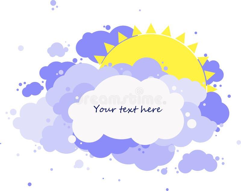 Gelbe Sonne versteckt hinter den Wolken, Platz für Ihren Text stock abbildung