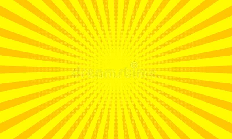Gelbe Sonnenstrahlen oder Sonnenstrahlnhintergrund mit Punktpop-arten-Design Vektorabstrakter Hintergrund lizenzfreie abbildung