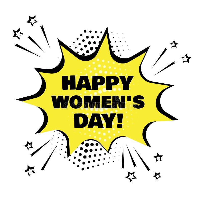 Gelbe Spracheblase mit Wort der glücklichen Frauen Tages r Auch im corel abgehobenen Betrag vektor abbildung