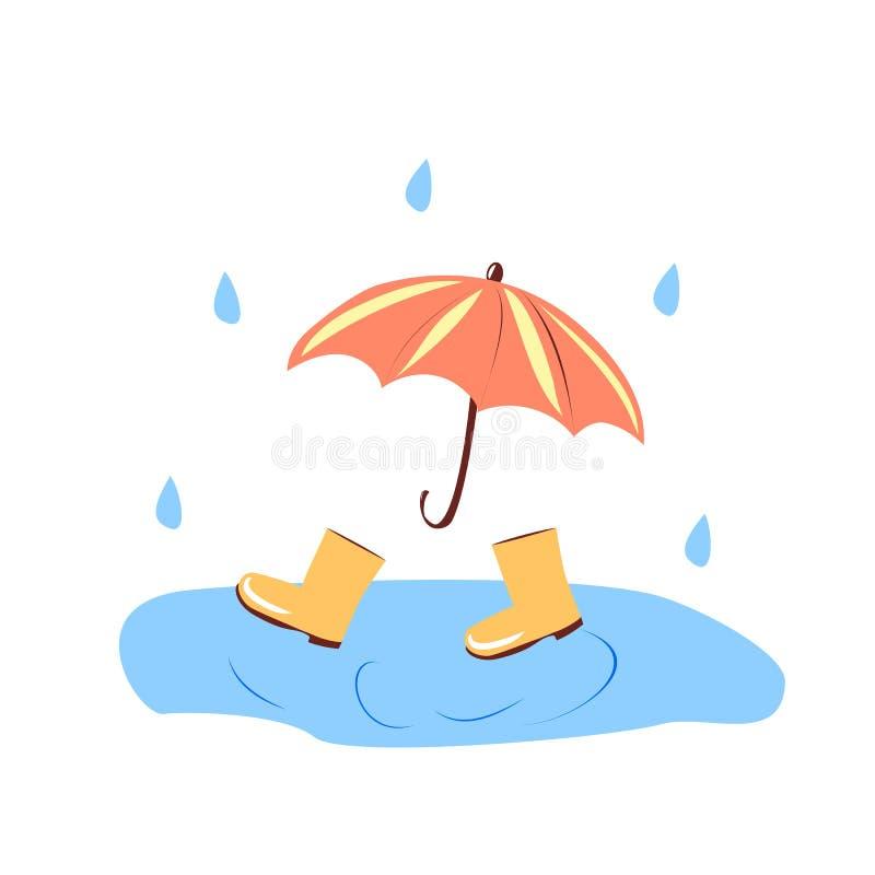 Gelbe Stiefel in einer Pfütze, orange Regenschirm auf einem weißen Hintergrund lizenzfreie abbildung