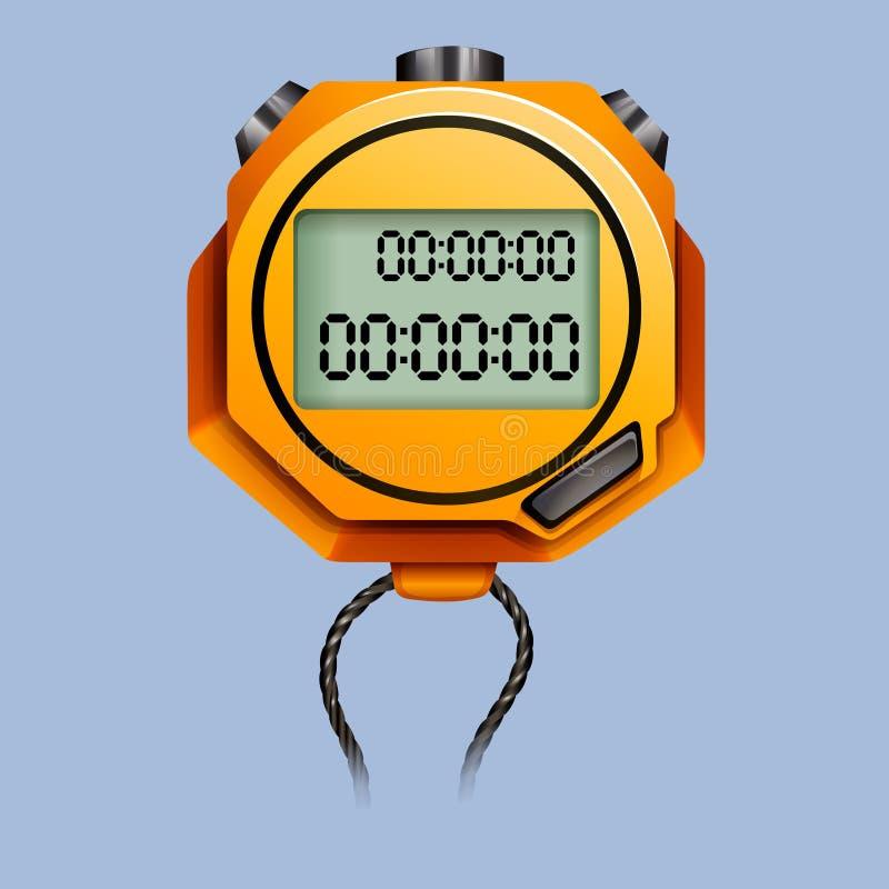 Gelbe Stoppuhr mit Seil vektor abbildung