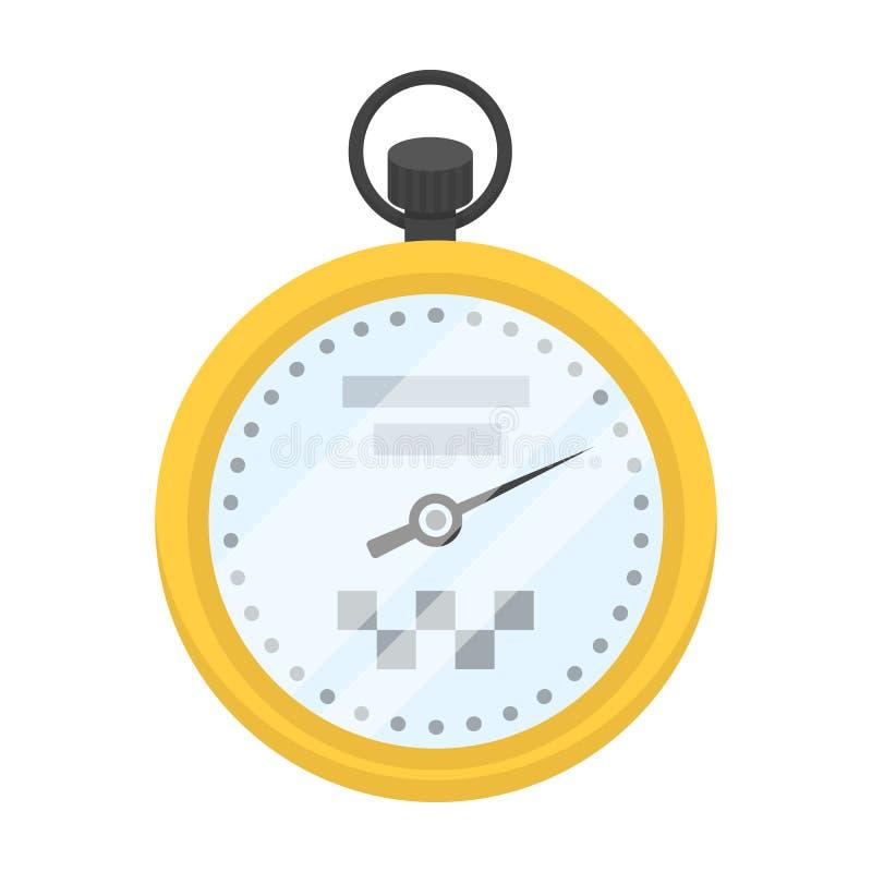 Gelbe Stoppuhr mit Taxiemblem Ausrüstungsmaß die Zeit der Archivierung eines Taxis Einzelne Ikone der Taxistation in der Karikatu lizenzfreie abbildung