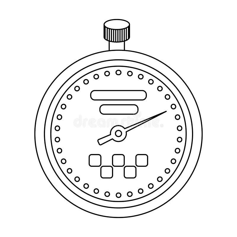 Gelbe Stoppuhr mit Taxiemblem Ausrüstungsmaß die Zeit der Archivierung eines Taxis Einzelne Ikone der Taxistation im Entwurf vektor abbildung