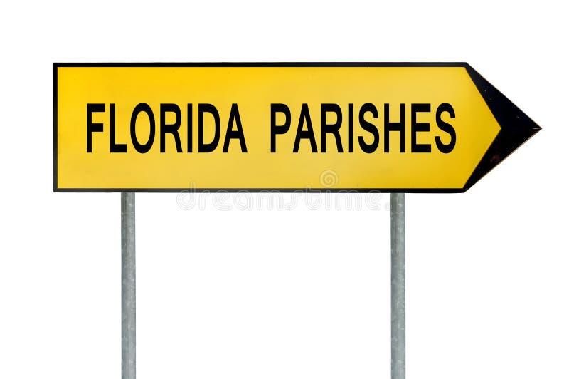 Gelbe Straßenkonzeptzeichen Florida-Gemeinden lokalisiert auf Weiß stockfotografie