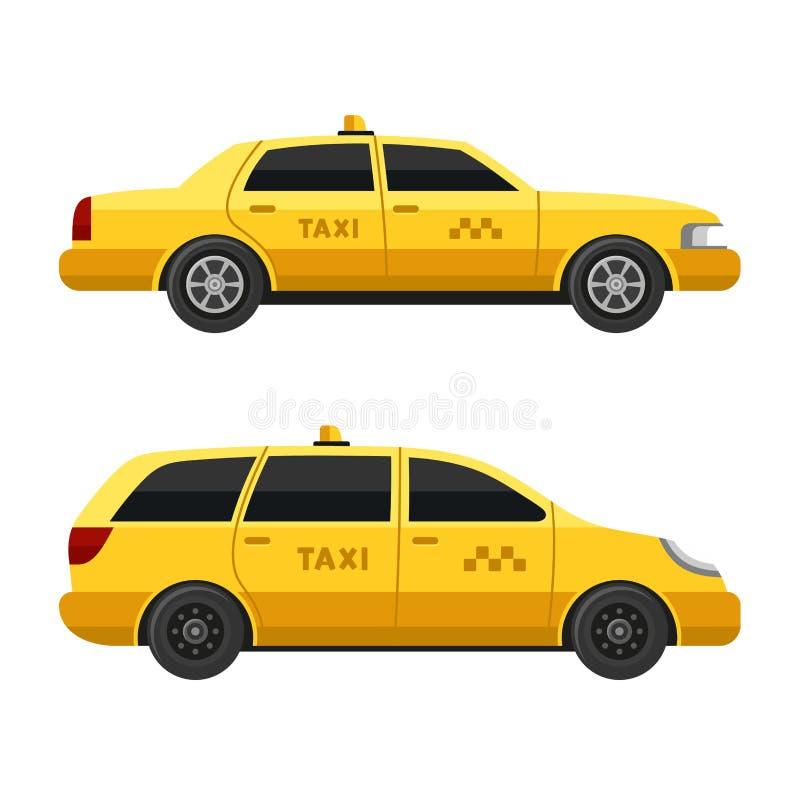 Gelbe Taxi-Autos eingestellt auf weißen Hintergrund Vektor stock abbildung