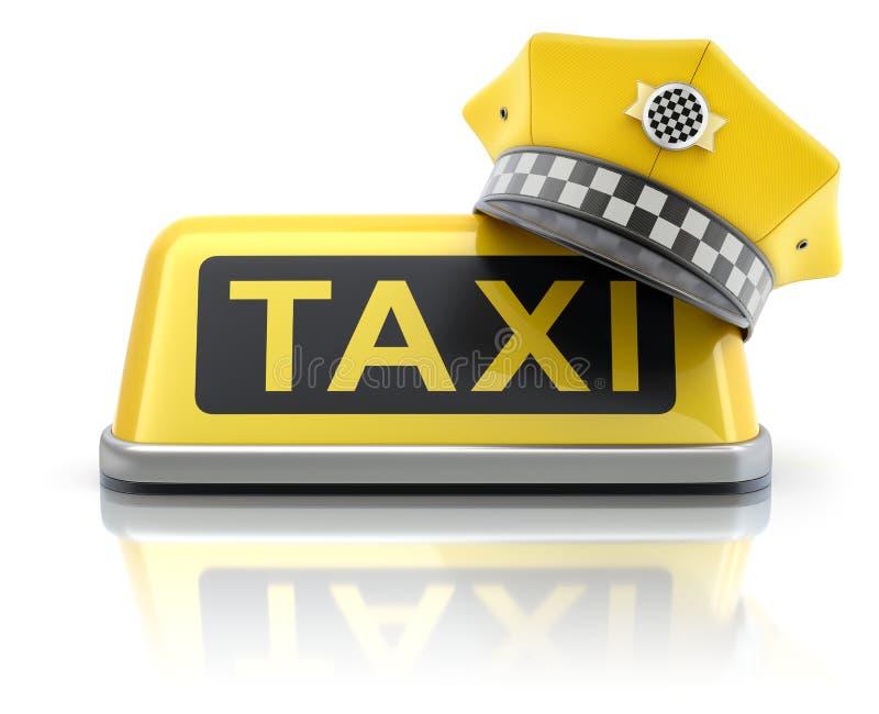Gelbe Taxifahrerkappe auf Taxiauto-Dachzeichen lizenzfreie abbildung