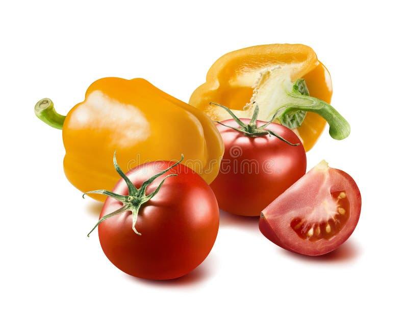 Gelbe Tomate des grünen Pfeffers lokalisiert auf weißem Hintergrund lizenzfreie stockbilder