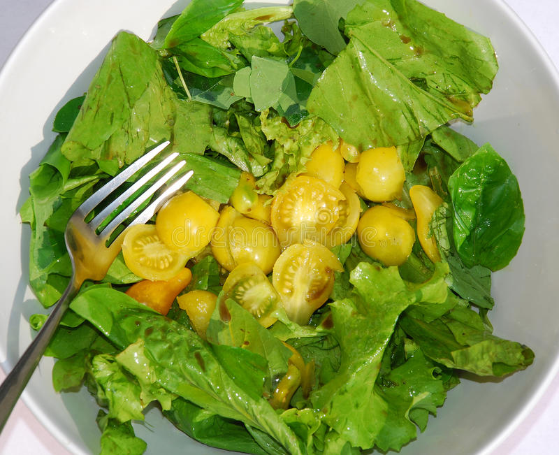 Gelbe Tomate-Salat-Schüssel mit Gabel lizenzfreies stockbild