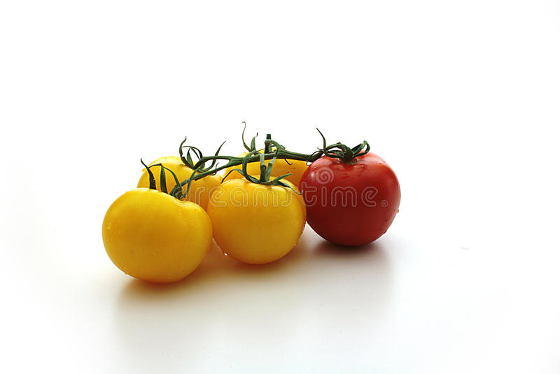 Gelbe Tomaten und rote Tomate stockfotos