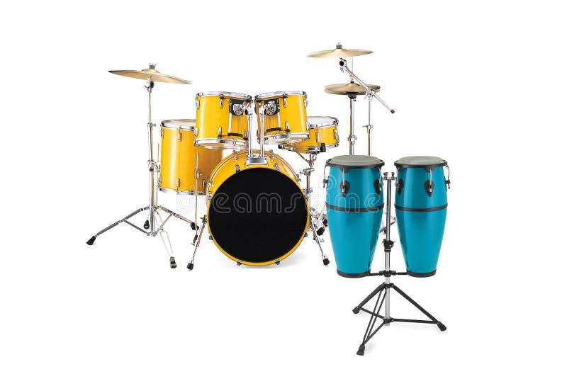 Gelbe Trommeln und blaue Congas stockbild