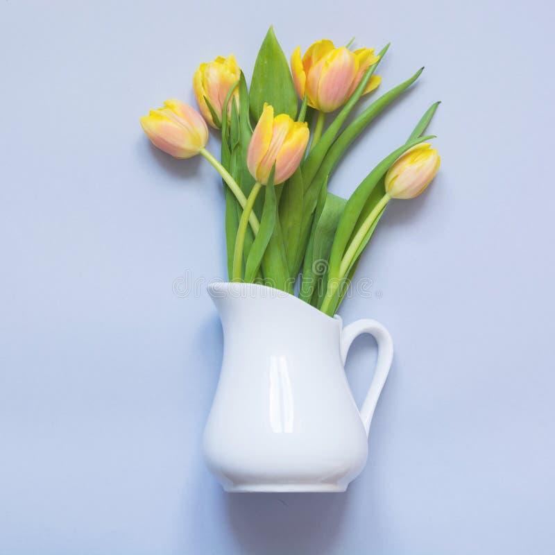 Gelbe Tulpe des Frühlinges im Vase auf Blau Kreatives Konzept Beschneidungspfad eingeschlossen Gelbe Blumen, Basisrecheneinheit,  stockbild