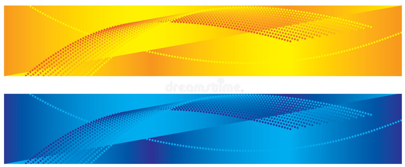 Gelbe und blaue abstrakte Fahnen vektor abbildung