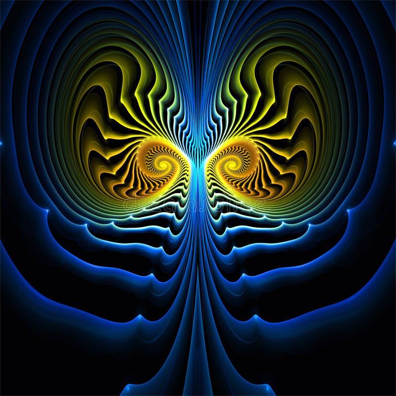 Gelbe und blaue Fantasiesymmetrie der abstrakten Fractalkunst vektor abbildung