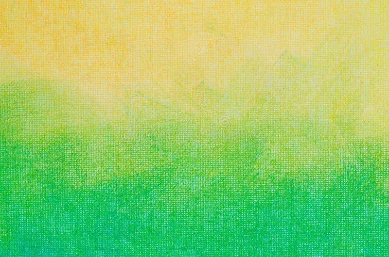 Gelbe und grüne abstrakte Beschaffenheit gemalt auf Kunstsegeltuch backgro lizenzfreies stockbild