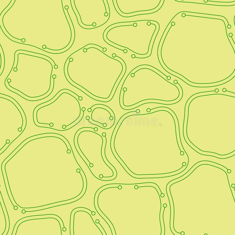 Gelbe und grüne chaotische bestellte abstrakte Vektorbeschaffenheit organische Zellen mit dünnen Linien vektor abbildung