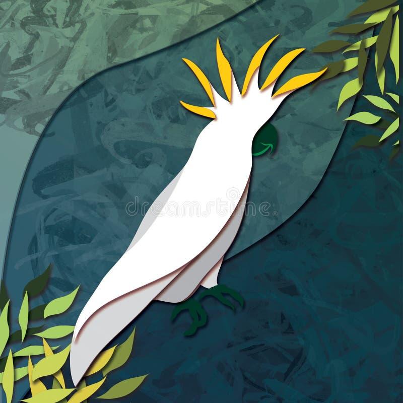 Gelbe und grüne Gelbhaubenkakadu-Illustration gegen einen blaues Grün-Hintergrund lizenzfreie abbildung