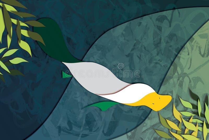 Gelbe und grüne Schnabeltier-Illustration lizenzfreie abbildung