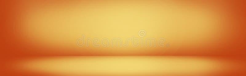 gelbe und orange Steigungswandfahne, leeres Studioraum backgr lizenzfreie abbildung