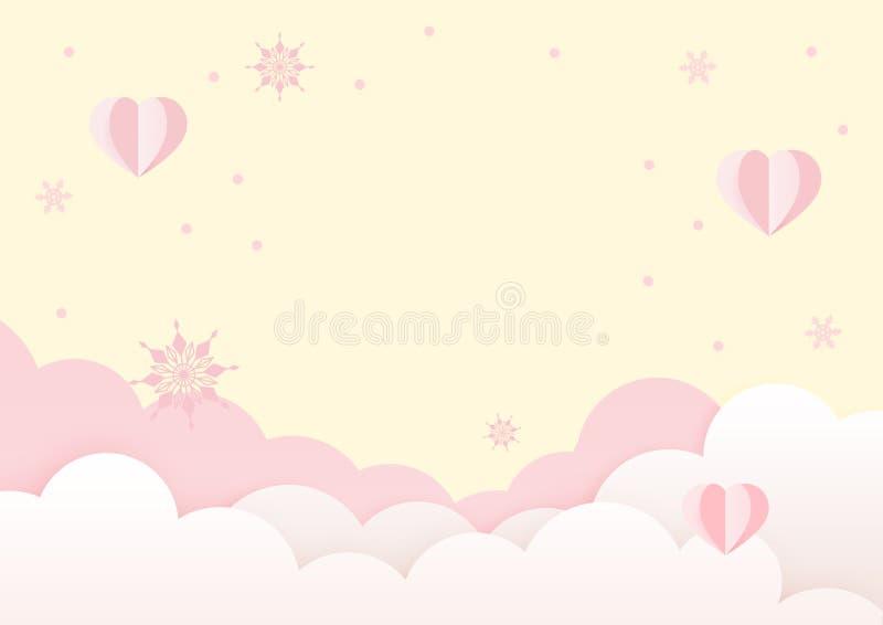 Gelbe und rosa Valentinsgruß-Tagesgruß-Karten-Design-Schablone lizenzfreie abbildung