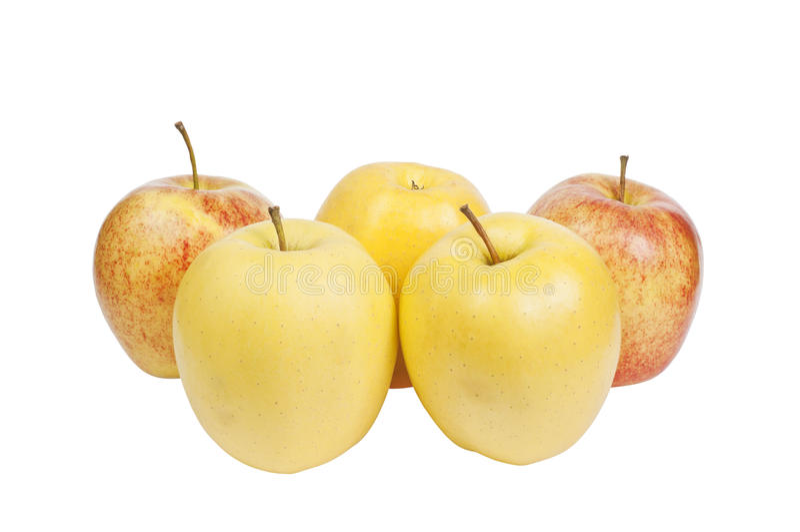 Gelbe und rote Äpfel stockfoto