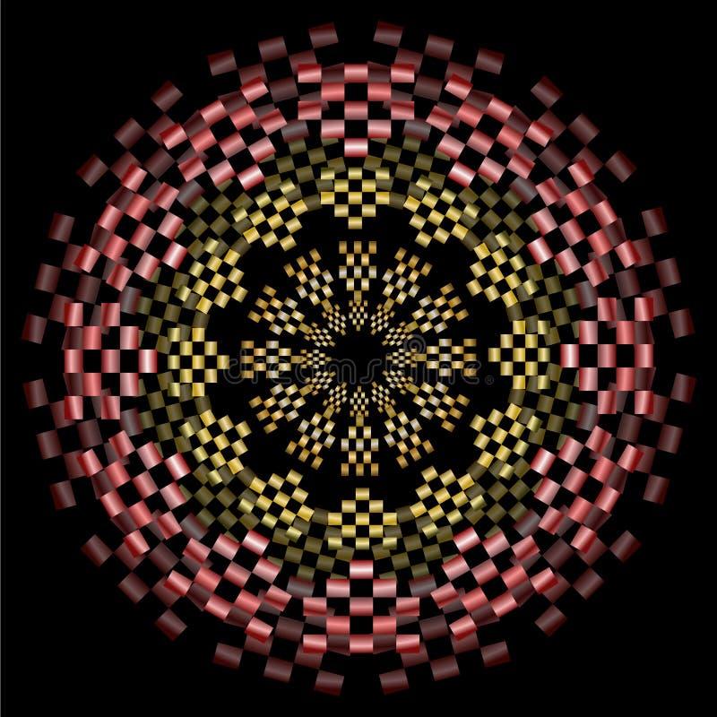 Gelbe und rote Mandala mit metallischem Effekt und optischer Täuschung 3d, kreisen symmetrische Muster auf schwarzem Hintergrund  vektor abbildung
