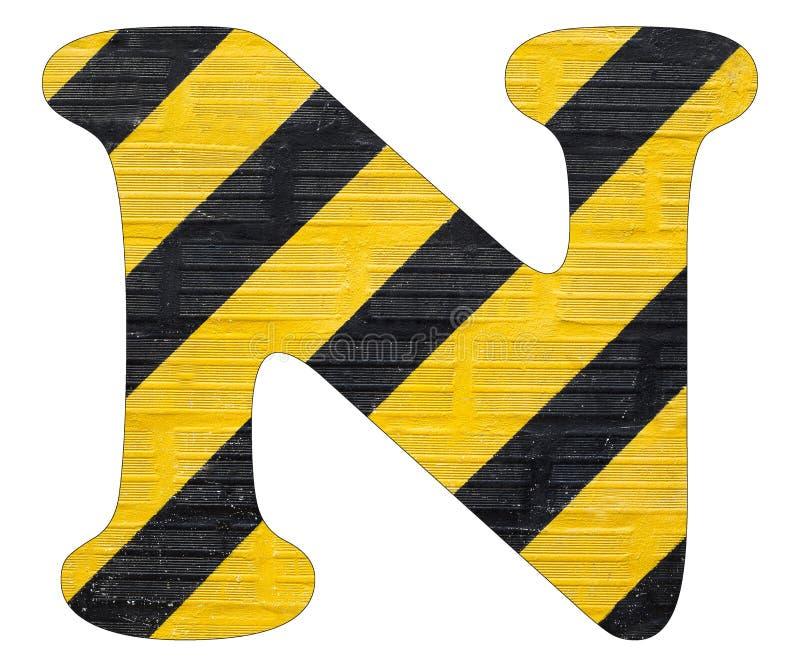 Gelbe und schwarze Linien Buchstaben N - Weißer Hintergrund lizenzfreies stockbild