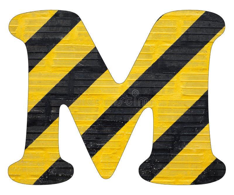 Gelbe und schwarze Linien des Buchstaben M - Weißer Hintergrund lizenzfreie stockfotos