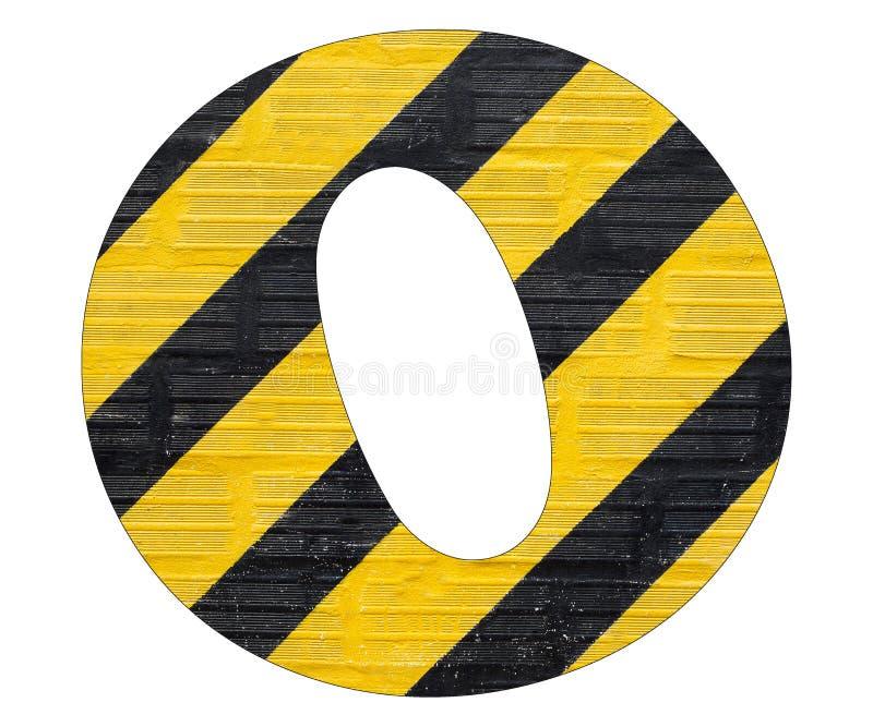 Gelbe und schwarze Linien des Buchstaben O - Weißer Hintergrund lizenzfreie stockfotos