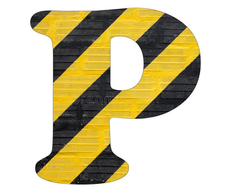Gelbe und schwarze Linien des Buchstaben P - Weißer Hintergrund stockfotografie