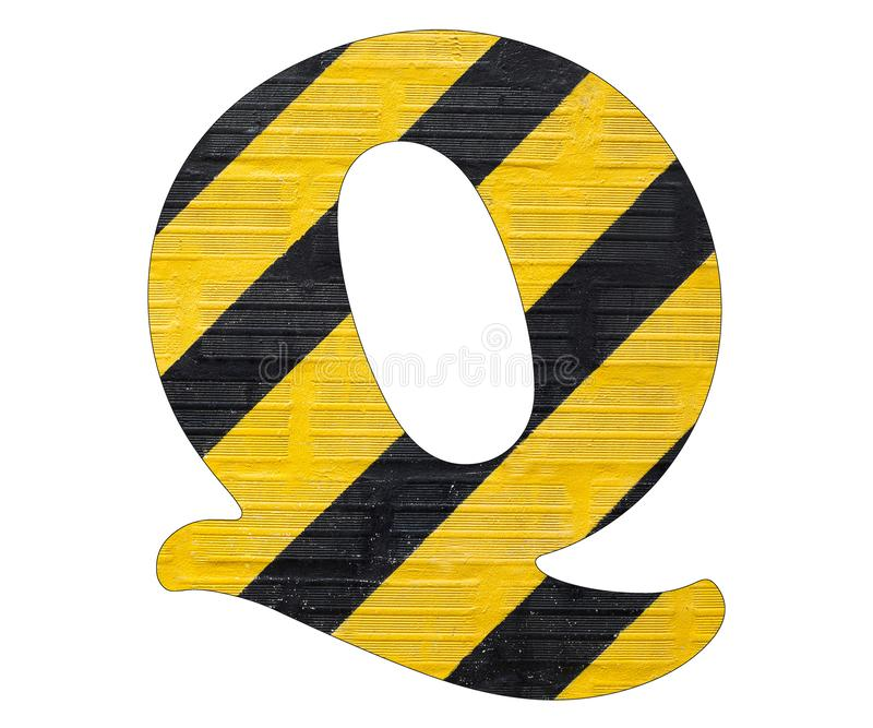 Gelbe und schwarze Linien des Buchstaben Q - Weißer Hintergrund lizenzfreies stockfoto