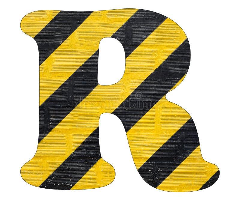 Gelbe und schwarze Linien des Buchstaben R - Weißer Hintergrund lizenzfreies stockfoto