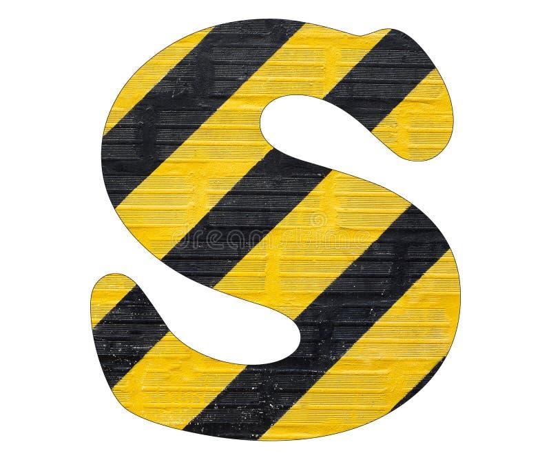 Gelbe und schwarze Linien des Buchstaben S - Weißer Hintergrund stockbild